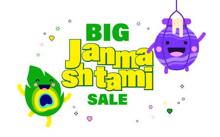 illustration of Happy Krishna janmashtami sale background. for shopping sale, promo poster, banner. Illustration