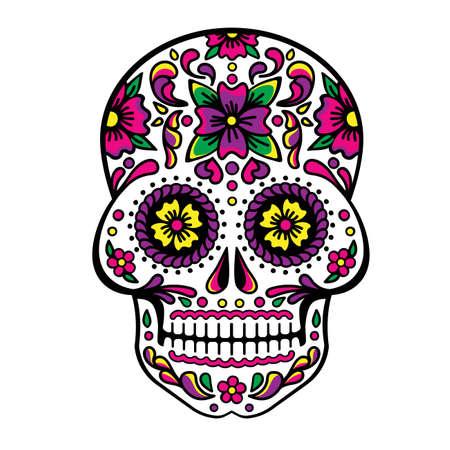 Mexican sugar skull, Dia de los Muertos, Skull Vector. Illustration