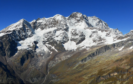 pyramid peak: South East face of Monte Rosa Stock Photo