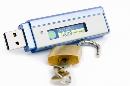usb pendrive: USB flash pendrive with \SECURED\ text on display with padlock (data security concept) Stock Photo