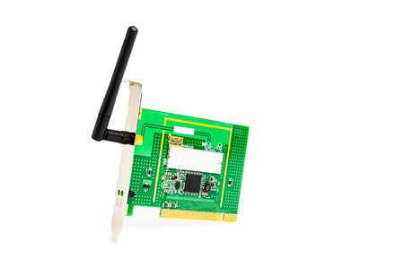 wlan: Computer wireless PCI card with antenna isolated on white