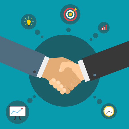 Handshake of business partners. Successful deal. Business partnership. Flat illustration with icons. Çizim