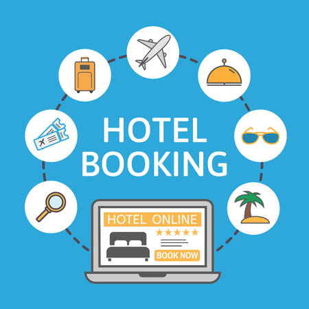 vacation with laptop: Online hotel booking. Laptop with holiday icons. Holiday vacation concept. Renting accommodations. Book button and bed icon on screen. Vector illustration.