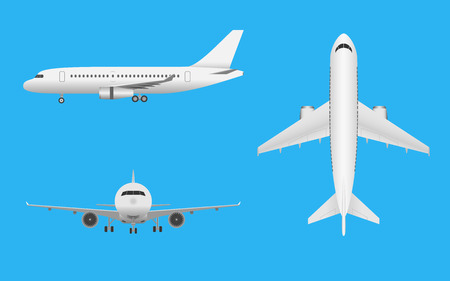 Plane vector. Airplane in all point of view. Airliner in front side and top on blue background. Illustration