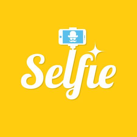 Taking selfie photo. Selfie stick design concept. Selfie label on yellow background. Vector illustration.