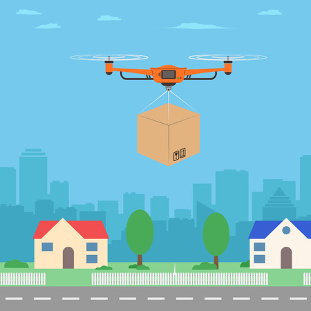 Delivery drone with the package. City background. Modern delivery of the package. Vector illustration. Illustration