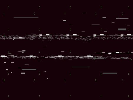 Glitch television on black background. Glitched lines noise. No signal. Retro VHS background. Vector illustration