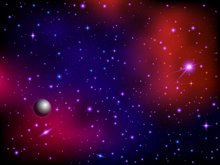 Colorful space galaxy background with planet and stars. Milky way and stardust. Artwork background. Color nebula. Realistic vector illustration. Çizim