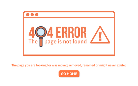 404 error design template. 404 page is not found concept linear style, page is lost. Website design error vector illustration.