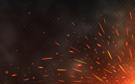 Fire sparks flying up on transparent background. Smoke and glowing particles on black. Realistic lighting sparks with bokeh effect for design. Vector illustration Illusztráció