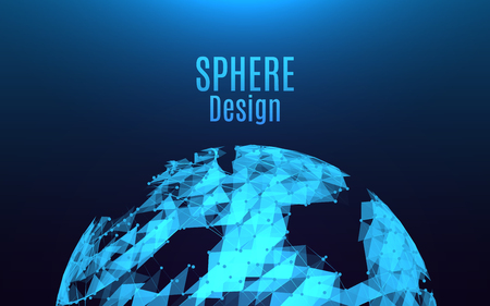 Abstract sphere explosion. Futuristic destroyed glowing sphere. Bright triangles and dots on blue background. Illustration