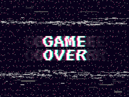 Game over glitch background. Retro game backdrop. Glitched lines noise. VHS effect for your design. Pixel inscription. Modern vector illustration Vettoriali