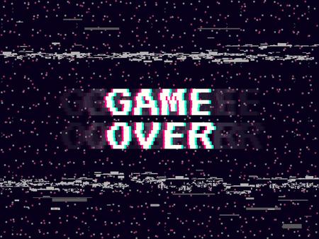 Game over glitch background. Retro game backdrop. Glitched lines noise. VHS effect for your design. Pixel inscription. Modern vector illustration Illustration