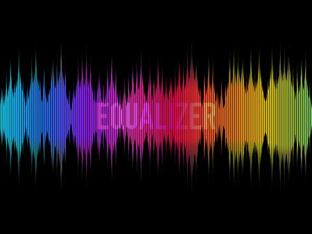 Colorful equalizer on dark background. Rainbow waves. Color music concept. Waveform design. Visualization of sound. Vector illustration.