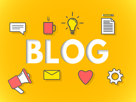 Blog concept on yellow background. Business blogging for website, banner, poster. Modern layers design. Sign with icons on bright backdrop. Vector illustration Vettoriali