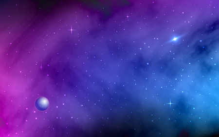 Space background. Shining stars and stardust. Milky Way, planet, colorful galaxy with nebula. Abstract futuristic backdrop. Realistic vector illustration Illustration