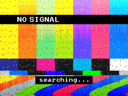 No signal glitch TV. Distorted color lines. Digital glitch distortion. Screen with color bars and noise. Vector illustration