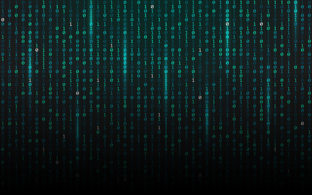 Matrix background. Streaming binary code. Falling digits on dark backdrop. Data concept. Abstract futuristic texture. Trendy vector illustration