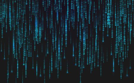 Binary matrix background. Falling digits on dark backdrop. Running random numbers. Abstract data concept. Blue futuristic cyberspace. Vector illustration Ilustração