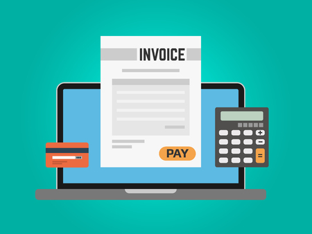 Invoice computer concept. Online payment using laptop. Calculator and credit card on green background. Paying taxes online. Digital banking. Vector illustration.
