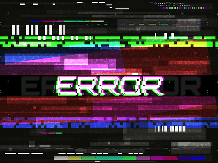 Glitch error template. Video problem concept. Color pixels and lines. Glitched elements and noise on dark background. No signal design. Game glitch. Vector illustration