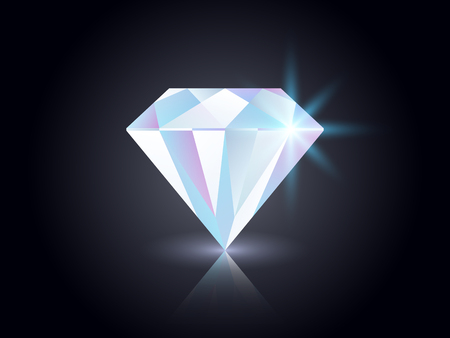 Diamond on dark background. Shining gemstone isolated on black. Realistic colorful jewel. Luxury element for magazine, advertisement, poster. Color gem concept with reflections. Vector illustration Çizim