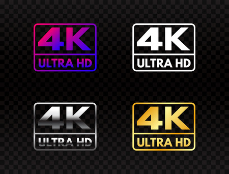 4K Ultra HD set on transparent background. High definition icon collection. UHD symbol in gold and silver. 4K resolution color mark. Full HD video label on dark backdrop. Vector illustration