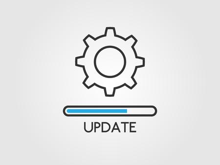 Aggiorna il concetto di software. Icona del sistema di aggiornamento. Stato dell'applicazione e barra di avanzamento del caricamento in stile piatto. Processo di caricamento e ingranaggi. Aggiornamento del design dell'app. Illustrazione vettoriale
