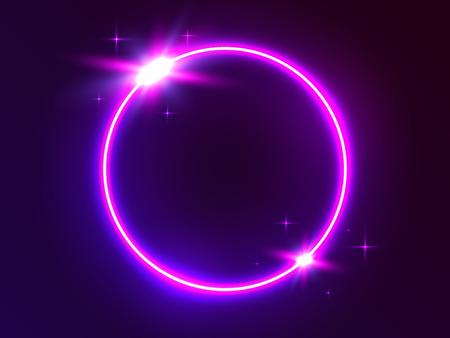 Cercle de néon. Lumière ronde futuriste. Cadre lumineux sur fond sombre. Anneau lumineux et éléments lumineux. Portail 3D avec effets modernes. Forme circulaire lumineuse. Illustration vectorielle. Vecteurs