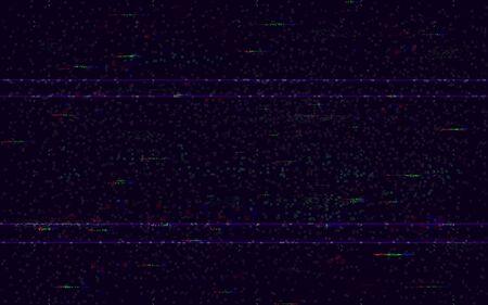 Fallo sin señal. Fondo mínimo de VHS. Plantilla de problema de video. Ruido de píxeles y distorsiones digitales de color. Fallo del videojuego. Error de HDTV. Ilustración de vector. Ilustración de vector