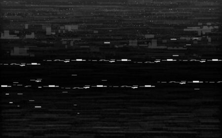 Glitch VHS black and white. Analog distortion effect with white noise and random lines. Rewind or pause concept. Retro no signal on black background. Vector illustration.