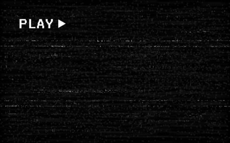 Glitch VHS effect. Old camera template. White horizontal lines on black background. Video rewind texture. No signal concept. Random abstract distortions. Vector illustration.