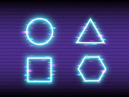 Glitch neon set on retro background. Frame design with color distortions. Geometric shapes with VHS effect. Glowing triangle and square and horizontal lines. Vector illustration