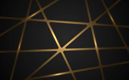 Gold mosaic on dark background. Luxury golden triangles and geometric shapes on gradient backdrop. Modern polygonal wallpaper. Shiny metallic texture. Vector illustration