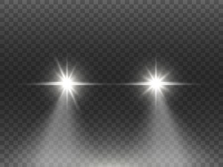 Autolichteffekt auf dunklem transparentem Hintergrund. Realistisches Scheinwerferkonzept. Weiße Fackeln des Automobils lokalisiert. Helles Auto strahlt nachts. Autostrahlen auf der Straße. Vektor-Illustration.