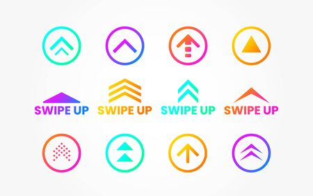 Swipe up set on white backdrop. Icons for social media or application. Colorful buttons collection. Color arrows and circles. Scroll web icons. Vector illustration.