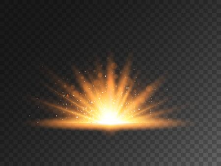 Light effect on transparent backdrop. Shining golden light with bright particles. Glittering burst with magic stardust. Sparkling star light. Vector illustration.