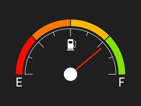Fuel gauge. Gasoline icon isolated on black background. Gas indicator in flat style. Oil bar with color elements. Manometer visualization with fuel icon. Vector illustration.