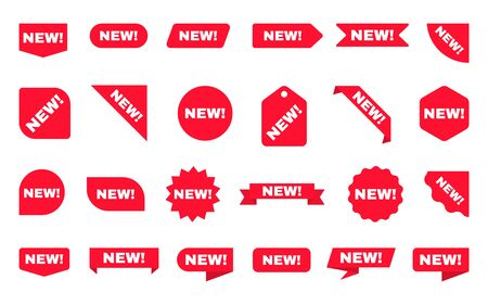 New sticker collection. Sale ribbons set. Red discount labels on white backdrop. Shopping tags. New arrival template with red posters or icons. New product. Vector illustration. Çizim