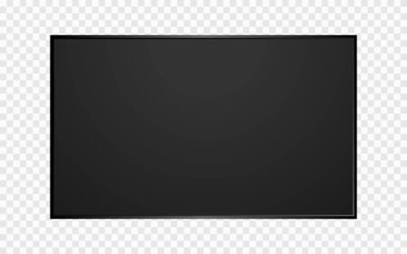 TV screen blank on transparent background. Modern television template. Computer monitor mockup. Realistic lcd panel. Wide wall display. Vector illustration. Ilustração
