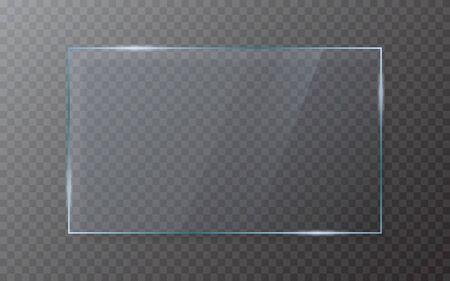 Glasplatte auf transparentem Hintergrund. Realistisches Glas mit Schatten. 3D-Fenstereffekt mit Flare. Isoliertes klares Blatt. Bildschirmvorlage aus Acryl. Glänzender Rahmen. Vektor-Illustration.