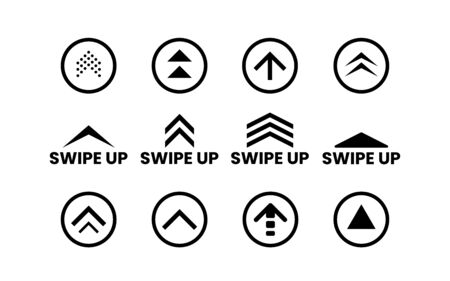 Swipe up set on white backdrop. Social media or application icons. Black buttons collection. Simple arrows and circles. Scroll web icons. Vector illustration.