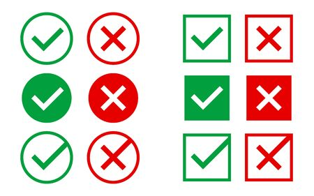 Approved and rejected icons on white backdrop. Green and red marks. Right and wrong symbols. Checkmark with circle or square for web design or app. Vector illustration. Vettoriali