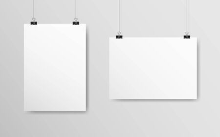 Empty white mockup set. Poster A4 hanging on a gray wall. White paper with soft shadow. Realistic banner on a rope. Horizontal and vertical template. Vector illustration.