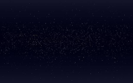Space background. Starry black cosmos. Night sky with milky way. Realistic stardust backdrop. Infinite universe with shining stars and constellations. Vector illustration Çizim