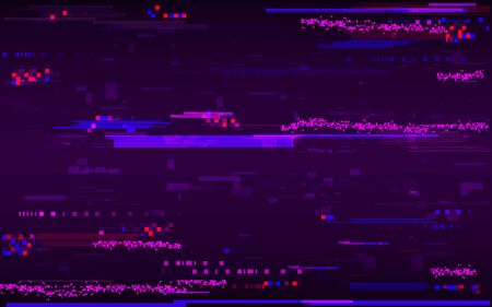 Glitch distortion template. Abstract color pixel noise. Digital lines and TV problems. HDTV no signal. Video technical problem. Geometric shapes texture. Vector illustration.
