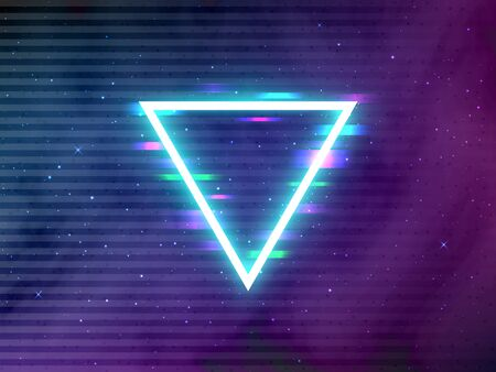 Glitch retro triangle. Glowing neon shape on cosmic backdrop. Cyberpunk template with digital glitched elements. Future effect in space for poster or brochure. Vector illustration.