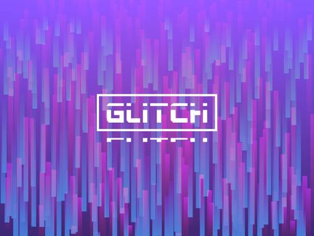 Glitch vertical lines. Purple distortion texture. Dynamic glitch with falling violet stripes. Abstract 3d composition with random elements. Gradient movement. Vector illustration Çizim