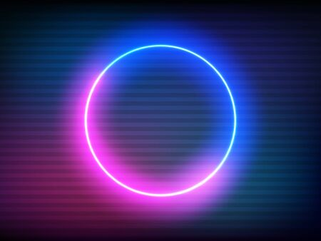 Neon retro circle with  effect. Glitch round frame on color backdrop. Futuristic glowing element. Pink and blue electric light for poster, banner or game. Vector illustration.