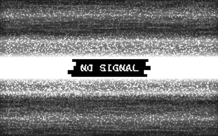 Glitch no signal. Pixel video template. White and black lines noise. Retro VHS effect. Monochrome texture with text. Digital screen error. Vector illustration.